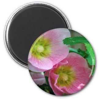 Pink and Yellow Hollyhocks Fridge Magnet