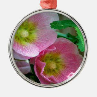 Pink and Yellow Hollyhocks Round Metal Christmas Ornament