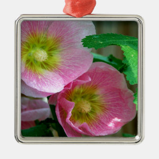 Pink and Yellow Hollyhocks Square Metal Christmas Ornament