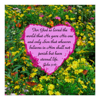 PINK AND YELLOW JOHN 3:16 FLORAL PHOTO POSTER