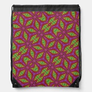 Pink and Yellow Kaleidoscope  Drawstring Bag