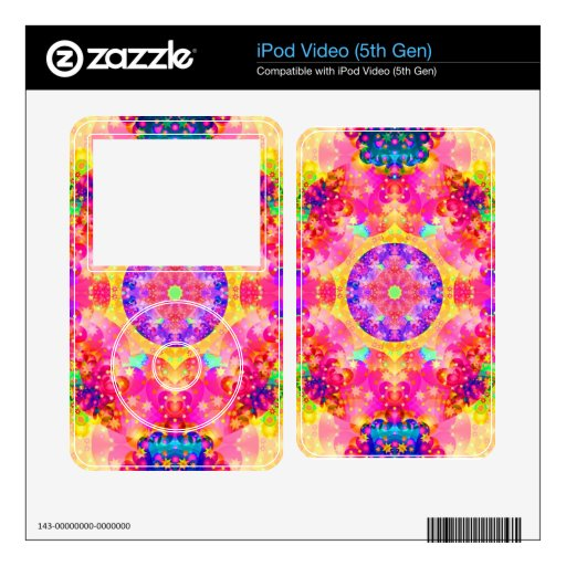 Pink and Yellow Kaleidoscope Fractal Art iPod Video 5G Decal