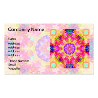 Pink and Yellow Kaleidoscope Fractal Business Card