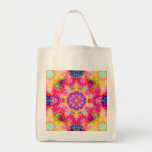 Pink and Yellow Kaleidoscope Fractal Canvas Bags