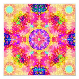 Pink and Yellow Kaleidoscope Fractal Photo Print