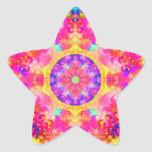 Pink and Yellow Kaleidoscope Fractal Star Stickers