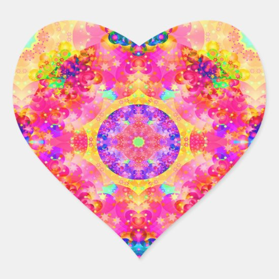 Pink and Yellow Kaleidoscope Fractal Stickers
