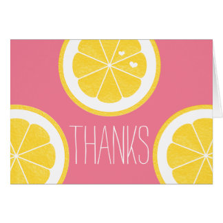 PINK AND YELLOW LEMON HEART SEED THANK YOU GREETING CARDS