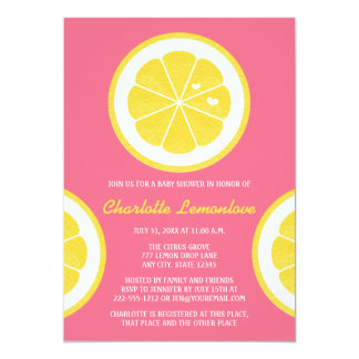 PINK AND YELLOW LEMON THEMED BABY SHOWER PERSONALIZED ANNOUNCEMENTS