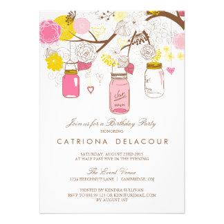 Pink and Yellow Mason Jars Birthday Invitation