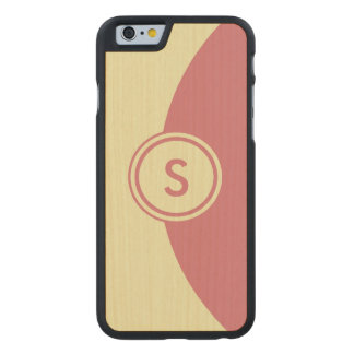 Pink and Yellow Monogram Carved Maple iPhone 6 Slim Case