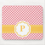 Pink and Yellow Monogrammed Gingham Mousepad