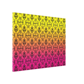 Pink and yellow ombrè Damask Stretched Canvas Prints
