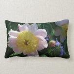 Pink and Yellow Peonies Beautiful Floral Garden Lumbar Pillow
