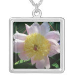 Pink and Yellow Peonies Beautiful Floral Garden Silver Plated Necklace