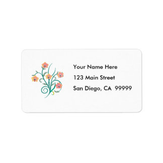Pink and Yellow Phalaenopsis Orchids Address Label