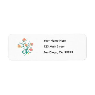 Pink and Yellow Phalaenopsis Orchids Return Address Label