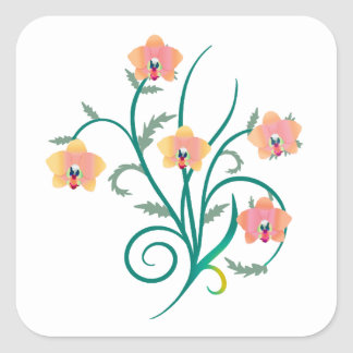 Pink and Yellow Phalaenopsis Orchids Square Sticker