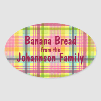 Pink and Yellow Plaid Banana Bread Jar Label Oval Sticker