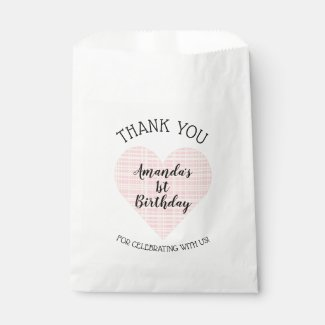 Pink and Yellow Plaid Heart Thank You Favor Bag