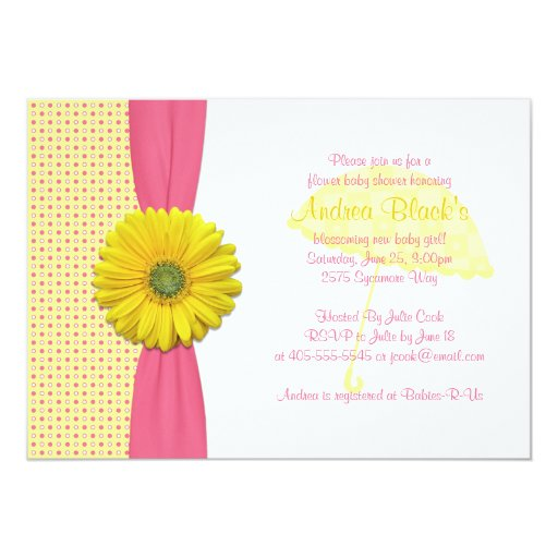 pink and yellow polka dots baby shower invitation zazzle