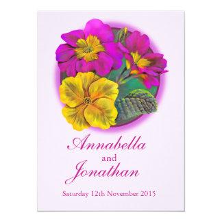 "Pink and yellow primrose spring wedding invites 5.5"" x 7.5"" invitation card"