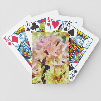 Pink and yellow rhododendron flowers bicycle card deck