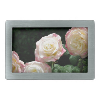 Pink and yellow rose blooms rectangular belt buckle