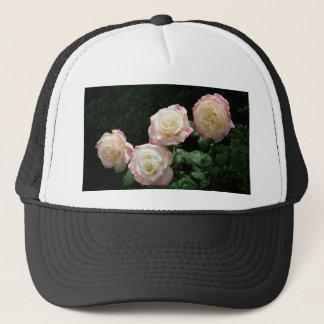 Pink and yellow rose blooms trucker hat