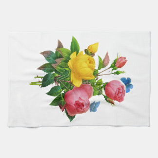 Pink and Yellow Rose Bouquet by Redoute Kitchen Towels