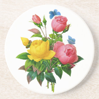 Pink and Yellow Rose Bouquet by Redoute Sandstone Coaster