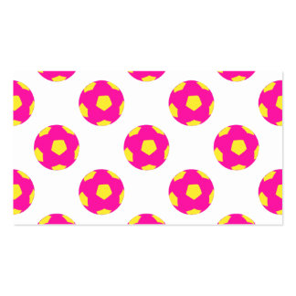 Pink and Yellow Soccer Ball Pattern Double-Sided Standard Business Cards (Pack Of 100)