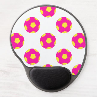 Pink and Yellow Soccer Ball Pattern Gel Mouse Pads