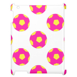 Pink and Yellow Soccer Ball Pattern iPad Case