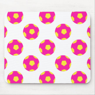 Pink and Yellow Soccer Ball Pattern Mouse Pad
