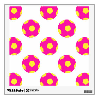 Pink and Yellow Soccer Ball Pattern Wall Graphics