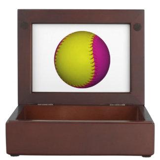 Pink and Yellow Softball Memory Box