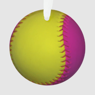 Pink and Yellow Softball Ornament