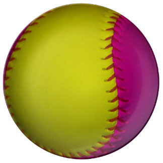 Pink and Yellow Softball Porcelain Plate