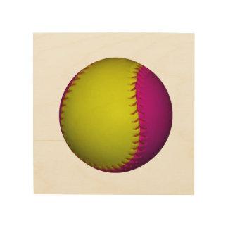 Pink and Yellow Softball Wood Wall Art