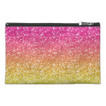 Pink and Yellow Sparkly Bits Travel Accessory Bag