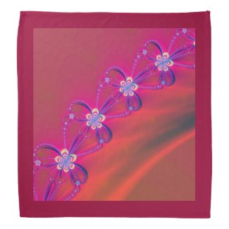 Pink and Yellow Striped Flower Fractal Bandana
