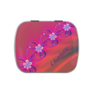 Pink and Yellow Striped Flower Fractal Candy Tin