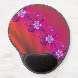 Pink and Yellow Striped Flower Fractal Gel Mouse Pad