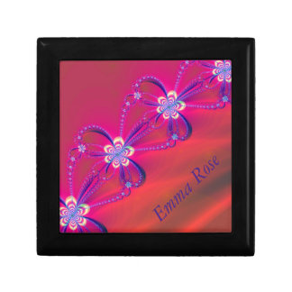 Pink and Yellow Striped Flower Fractal Gift Box