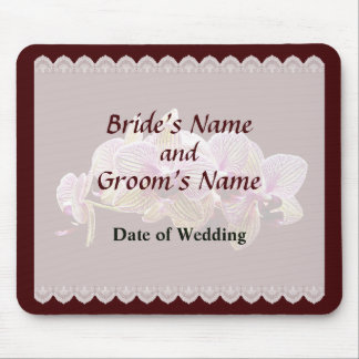 Pink and Yellow Striped rchids Wedding Favors Mouse Pad