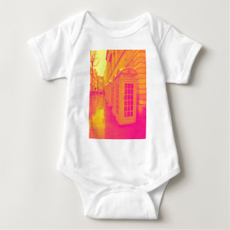 Pink and yellow telephone boxes baby bodysuit