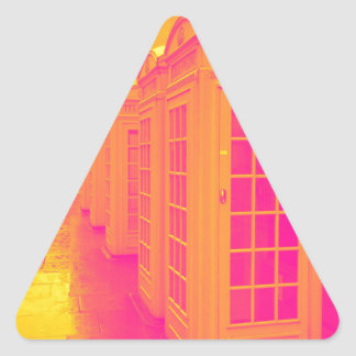 Pink and yellow telephone boxes triangle sticker