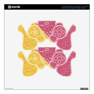Pink and yellow texture PS3 controller decal