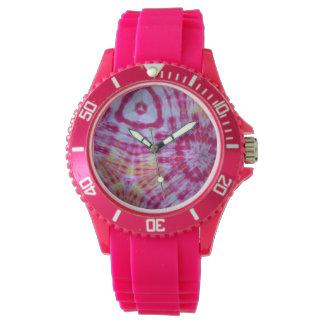 Pink and Yellow Tie-Dye Kaleidoscope Watch